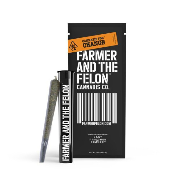 Render of a Felon cannabis flower preroll sitting aside its packaging